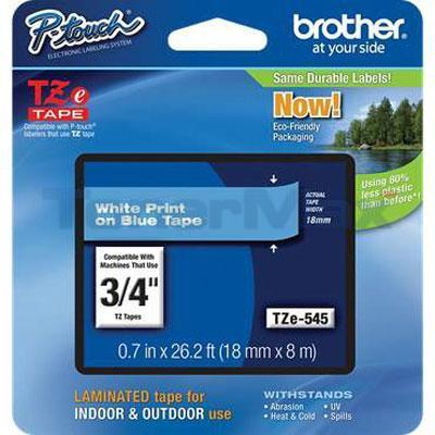 BROTHER TZ LAMINATED TAPE WHITE ON BLUE 18 MM X 8 M 